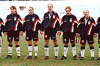 England players sing the national anthem in front of a new British record crowd of 4,917 during England Women vs Germany Women, World Cup Qualifying Football at the New Den, Millwall FC, London, Britain on 8th March 1998