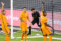 CARSON, CA - OCTOBER 28: Diego Rossi #9 of the Houston Dynamo scores a goal and celebrates during a game between Houston Dynamo and Los Angeles FC at Banc of California Stadium on October 28, 2020 in Carson, California.