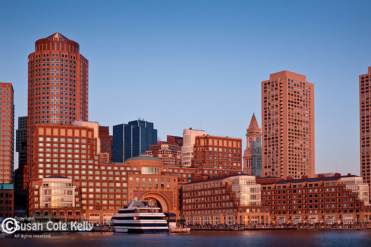 Rowes Wharf, on the waterfront of Boston Harbor, Boston, MA, USA