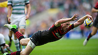 Chris Ashton of Saracens dives over to score a try during the Aviva Premiership match between Saracens and London Irish at Twickenham on Saturday 1st September 2012 (Photo by Rob Munro)