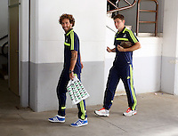 Valencia, Spain. Thursday 19 September 2013<br /> Pictured L-R: Jose Canas and Ben Davies arriving at the Estadio Mestalla. <br /> Re: UEFA Europa League game against Valencia C.F v Swansea City FC, at the Estadio Mestalla, Spain,