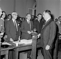 Maire de Quebec Wilfred Hamel en 1962 (date exacte inconnue)<br /> <br /> PHOTO : Agence Quebec Presse