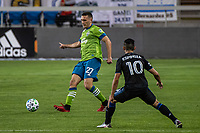 SAN JOSE, CA - OCTOBER 18: Shane O'Neill #27 of the Seattle Sounders passes the ball during a game between Seattle Sounders FC and San Jose Earthquakes at Earthquakes Stadium on October 18, 2020 in San Jose, California.