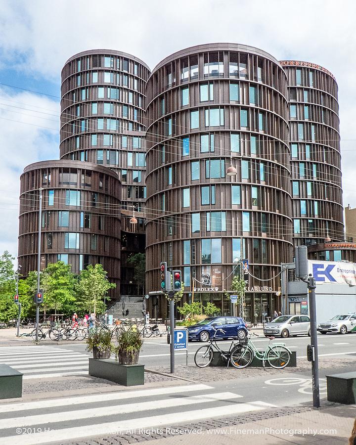 Modern apartment towers across from Tivoli in Copenhagen