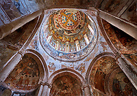 Pictures & images of Nikortsminda ( Nicortsminda ) St Nicholas Georgian Orthodox Cathedral rich interior frescoes of the cupola dome, 16th century, Nikortsminda, Racha region of Georgia (country). A UNESCO World Heritage Tentative Site.