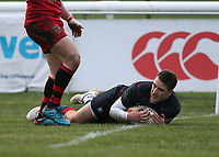Tom Parton of London Scottish scores a try during the Greene King IPA Championship match between London Scottish Football Club and Jersey at Richmond Athletic Ground, Richmond, United Kingdom on 16 December 2017. Photo by Mark Kerton / PRiME Media Images.