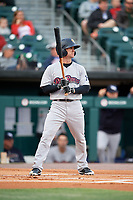 Scranton/Wilkes-Barre RailRiders center fielder Shane Robinson (2) at bat during a game against the Buffalo Bisons on May 18, 2018 at Coca-Cola Field in Buffalo, New York.  Buffalo defeated Scranton 5-1.  (Mike Janes/Four Seam Images)