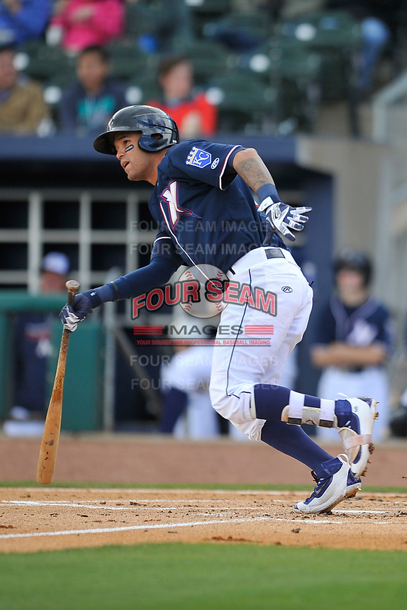 Northwest Arkansas Naturals shortstop Humberto Arteaga (6) runs to first base during a game against the Frisco RoughRiders at Arvest Ballpark on May 24, 2017 in Springdale, Arkansas.  The RoughRiders defeated the Naturals 7-6 in the completion of the game suspended on May 23, 2017.  (Dennis Hubbard/Four Seam Images)