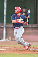 Johnson City Cardinals designated hitter Chris Chinea (22) swings at a pitch during a game against the Elizabethton Twins on July 30, 2015 in Elizabethton, Tennessee. The Twins defeated the Cardinals 13-4. (Tony Farlow/Four Seam Images)