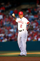 Erick Aybar #2 of the Los Angeles Angels during a game against the Pittsburgh Pirates at Angel Stadium on June 21, 2013 in Anaheim, California. (Larry Goren/Four Seam Images)