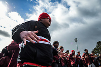 Scots fans perform a haka after the Wellington 1st XV premier rugby final between Scots College and St Patrick's College Silverstream at Porirua Park in Wellington, New Zealand on Sunday, 18 August 2019. Photo: Dave Lintott / lintottphoto.co.nz