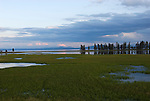 A sunset over Yellowstone Lake in Yellowstone National Park, Wyoming.