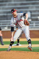 Maryland Terrapins starting pitcher Jake Stinnett (7) in action against the Wake Forest Demon Deacons at Wake Forest Baseball Park on April 4, 2014 in Winston-Salem, North Carolina.  The Demon Deacons defeated the Terrapins 6-4.  (Brian Westerholt/Four Seam Images)