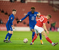 11th February 2021; Oakwell Stadium, Barnsley, Yorkshire, England; English FA Cup 5th round Football, Barnsley FC versus Chelsea; Tammy Abraham of Chelsea taking the ball inside and past Michal Helik of Barnsley