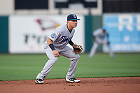 Tampa Tarpons shortstop Diego Castillo (19) during a game against the Lakeland Flying Tigers on April 5, 2018 at Publix Field at Joker Marchant Stadium in Lakeland, Florida.  Tampa defeated Lakeland 4-2.  (Mike Janes/Four Seam Images)