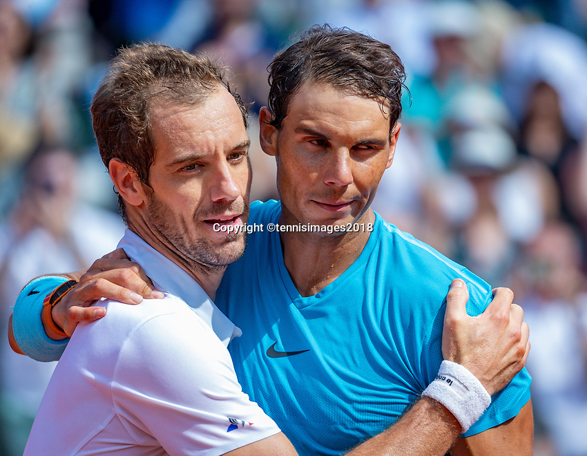 Paris, France, 02 June, 2018, Tennis, French Open, Roland Garros, Rafael Nadal (ESP) is congretulated by Richard Gasquet (FRA) (L)<br /> Photo: Henk Koster/tennisimages.com