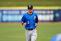Biloxi Shuckers shortstop Brice Turang (2) warms up prior to the game against the Tennessee Smokies on May 18, 2021, at Smokies Stadium in Kodak, Tennessee. (Danny Parker/Four Seam Images)