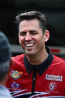 Apr 25, 2014; Baytown, TX, USA; NHRA top fuel dragster driver Larry Dixon during qualifying for the Spring Nationals at Royal Purple Raceway. Mandatory Credit: Mark J. Rebilas-