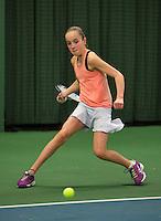 Rotterdam, The Netherlands, 07.03.2014. NOJK ,National Indoor Juniors Championships of 2014, 12and 16 years, Julie Belgraver (NED)<br /> Photo:Tennisimages/Henk Koster