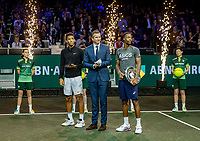 Rotterdam, The Netherlands, 16 Februari 2020, ABNAMRO World Tennis Tournament, Ahoy,<br /> Mens Single Final: Winner  Gaël Monfils (FRA) (R) and  the runner up Felix Auger-Aliassime (CAN) with the trophy while tournament dirctor Richard Krajicek <br /> Photo: www.tennisimages.com