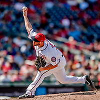 23 August 2018: Washington Nationals pitcher Greg Holland on the mound in the 9th inning against the Philadelphia Phillies at Nationals Park in Washington, DC. The Phillies shut out the Nationals 2-0 to take the 3rd game of their 3-game mid-week divisional series. Mandatory Credit: Ed Wolfstein Photo *** RAW (NEF) Image File Available ***