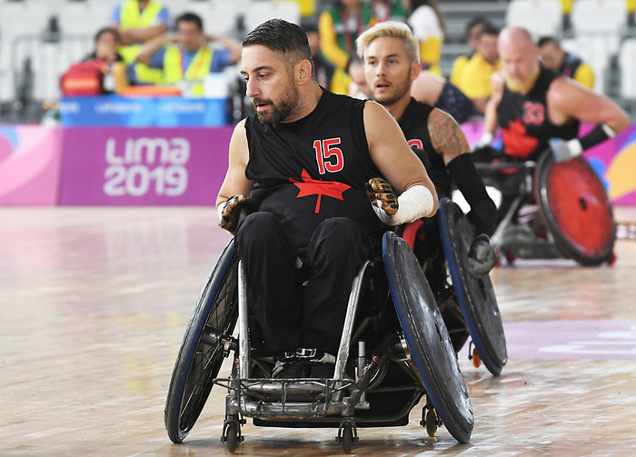 Patrice Simard, Lima 2019 - Wheelchair Rugby // Rugby en fauteuil roulant.<br /> Canada takes on the USA in wheelchair rugby // Le Canada affronte les États-Unis au rugby en fauteuil roulant. 27/08/2019.