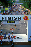 Runners at the finish of the Honolulu Marathon