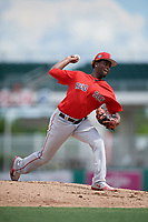 Boston Red Sox pitcher Joan Martinez (61) delivers a pitch during a Florida Instructional League game against the Baltimore Orioles on September 21, 2018 at JetBlue Park in Fort Myers, Florida.  (Mike Janes/Four Seam Images)