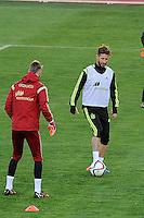 Spanish National Team's  training at Ciudad del Futbol stadium in Las Rozas, Madrid, Spain. In the Pic: De Gea and Sergio Ramos. March 25, 2015. (ALTERPHOTOS/Luis Fernandez) /NORTEphoto.com