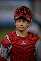 Peoria Chiefs catcher Alexis Wilson (13) during a Midwest League game against the Fort Wayne TinCaps on July 17, 2019 at Parkview Field in Fort Wayne, Indiana.  Fort Wayne defeated Peoria 6-2.  (Mike Janes/Four Seam Images)