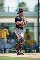 Pittsburgh Pirates catcher John Bormann (27) during an Instructional League Intrasquad Black & Gold game on September 21, 2016 at Pirate City in Bradenton, Florida.  (Mike Janes/Four Seam Images)