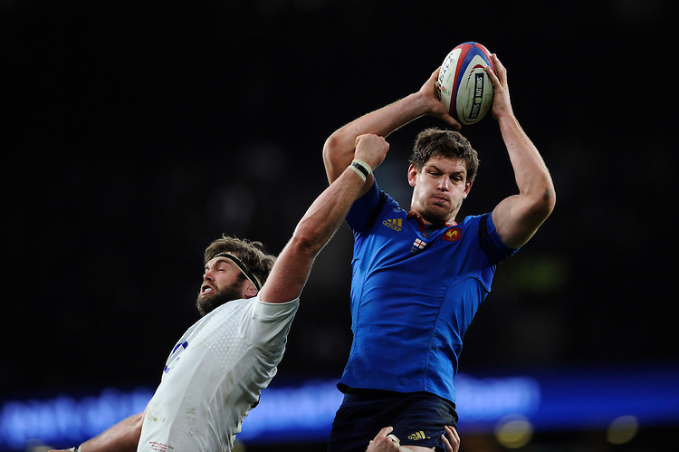 Alexandre Flanquart of France outjumps Geoff Parling of England in the lineout