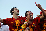 02.07.2012. Juanfran (l) and Cazorla during Tour of Madrid of the Spanish football team to celebrate their victory in Euro 2012 july 2012.(ALTERPHOTOS/ARNEDO)