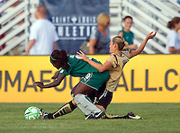 Saint Louis Athletica forward Enoila Aluko (9) and FC Gold Pride midfielder/forward Kristen Graczyk (13)during a WPS match at Anheuser-Busch Soccer Park, in St. Louis, MO, July 26, 2009.  The match ended in a 1-1 tie.