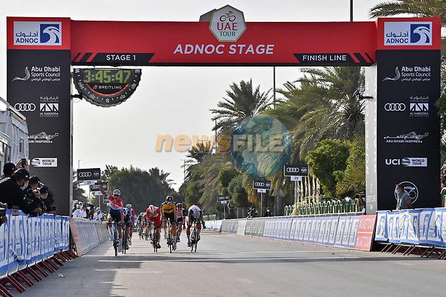 Mathieu van der Poel (NED) Alpecin-Fenix outsprints David Dekker (NED) Jumbo-Visma, Elia Viviani (ITA) Cofidis and Michael Mørkøv (DEN) Deceuninck-Quick Step to win Stage 1 of the 2021 UAE Tour the ADNOC Stage running 176km from Al Dhafra Castle to Al Mirfa, Abu Dhabi, UAE. 21st February 2021.  <br /> Picture: LaPresse/Gian Mattia D'Alberto | Cyclefile<br /> <br /> All photos usage must carry mandatory copyright credit (© Cyclefile | LaPresse/Gian Mattia D'Alberto)