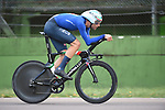 Filippo Ganna (ITA) in action on the Imola race circuit during the 31.7km Men Elite Time Trial of the 2020 UCI World Championships held around Imola, Italy. 25th September 2020.  <br /> Picture: Sirotti Stefano | Cyclefile<br /> <br /> All photos usage must carry mandatory copyright credit (© Cyclefile | Sirotti Stefano)