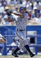 Alex Sanchez of the Milwaukee Brewers bats during a 2002 MLB season game against the Los Angeles Dodgers at Dodger Stadium, in Los Angeles, California. (Larry Goren/Four Seam Images)