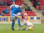 St Johnstone v Hamilton Accies…23.09.17…  McDiarmid Park… SPFL<br />Stefan Scougall fends off Greg Docherty<br />Picture by Graeme Hart. <br />Copyright Perthshire Picture Agency<br />Tel: 01738 623350  Mobile: 07990 594431