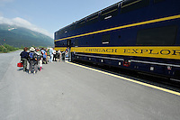 Passengers line up in Portage to board the Spencer Glacier Whistlestop train. The Alaska Railroad's Spencer Glacier Whistlestop train gives visitors access to hiking, camping and stunning views.