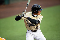 Vanderbilt Commodores right fielder Isaiah Thomas (8) at bat against the Tennessee Volunteers on Robert M. Lindsay Field at Lindsey Nelson Stadium on April 17, 2021, in Knoxville, Tennessee. (Danny Parker/Four Seam Images)