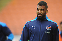 Blackpool's CJ Hamilton during the pre-match warm-up <br /> <br /> Photographer Kevin Barnes/CameraSport<br /> <br /> The EFL Sky Bet League One - Blackpool v Milton Keynes Dons - Saturday 24 October 2020 - Bloomfield Road - Blackpool<br /> <br /> World Copyright © 2020 CameraSport. All rights reserved. 43 Linden Ave. Countesthorpe. Leicester. England. LE8 5PG - Tel: +44 (0) 116 277 4147 - admin@camerasport.com - www.camerasport.com