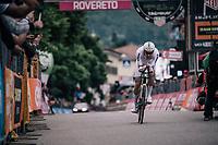TT World Champion Tom Dumoulin (NED/Sunweb) crossing the finish line<br /> <br /> stage 16: Trento – Rovereto iTT (34.2 km)<br /> 101th Giro d'Italia 2018