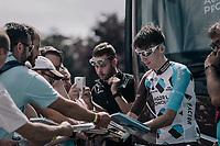 Romain Bardet (FRA/AG2R-La Mondiale) dealing autographs at the start<br /> <br /> 104th Tour de France 2017<br /> Stage 4 - Mondorf-les-Bains › Vittel (203km)