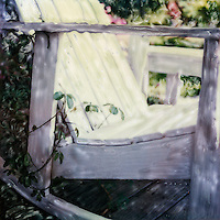 Come to a quiet place to relax and contemplate in your garden or your life. The white rocking chair provides a respite from the cares and stresses of your day. <br />