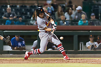 Surprise Saguaros second baseman Andy Young (29), of the St. Louis Cardinals organization, swings at a pitch during an Arizona Fall League game against the Scottsdale Scorpions at Scottsdale Stadium on October 15, 2018 in Scottsdale, Arizona. Surprise defeated Scottsdale 2-0. (Zachary Lucy/Four Seam Images)