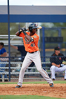 Baltimore Orioles Carlos Baez (40) at bat during an Instructional League game against the New York Yankees on September 23, 2017 at the Yankees Minor League Complex in Tampa, Florida.  (Mike Janes/Four Seam Images)