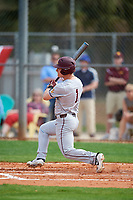 Minnesota Golden Gophers left fielder Ben Mezzenga (1) hits a single during a game against the Boston College Eagles on February 23, 2018 at North Charlotte Regional Park in Port Charlotte, Florida.  Minnesota defeated Boston College 14-1.  (Mike Janes/Four Seam Images)