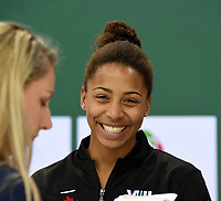 Mixed 3m Synchro Springboard bronze medallist Jennifer Abel being interviewed <br /> <br /> Photographer Hannah Fountain/CameraSport<br /> <br /> FINA/CNSG Diving World Series 2019 - Day 3 - Sunday 19th May 2019 - London Aquatics Centre - Queen Elizabeth Olympic Park - London<br /> <br /> World Copyright © 2019 CameraSport. All rights reserved. 43 Linden Ave. Countesthorpe. Leicester. England. LE8 5PG - Tel: +44 (0) 116 277 4147 - admin@camerasport.com - www.camerasport.com