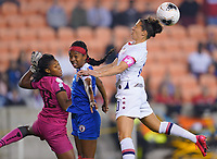 HOUSTON, TX - JANUARY 28: Carli Loyd #10 of the United States heads a ball during a game between Haiti and USWNT at BBVA Stadium on January 28, 2020 in Houston, Texas.