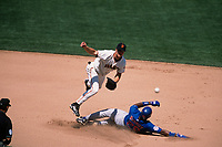 SAN FRANCISCO, CA:  Jeff Kent of the San Francisco Giants turns a double play at second base forcing out Chicago Cubs base runner Fred McGriff during a game at Pacific Bell Park in San Francisco, California in 2001. (Photo by Brad Mangin)